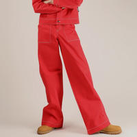 BASIC COTTON BASIC STITCH PANTS RED