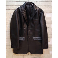 FAUX LEATHER TAILORED JKT BLACK