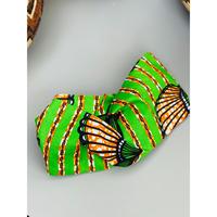 ATWT オリジナル グリーン×オレンジ貝殻柄 ヘアバンド