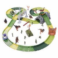 Paraizo 恐竜おもちゃ レールセット 軌道 セット 汽車 ジュロキパーク 道路 橋 建築 知育おもちゃ 誕生日 クリスマスプレゼント (275点 トンネル&橋ver)