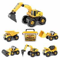 ADULi車おもちゃ 組み立ておもち 建設車両 DIY 車セット  働く車  工事カー ローラーカー/セメントミキサー/ジョベルカー/ダンプトラック/ブルドーザー/ハンマークラッシャー 作業車