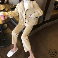 セットアップ ウールジャケット + ウールパンツ 韓国ファッション レディース ショートコート ブルゾン ワイドパンツ 9分丈 (DTC-607091771764)