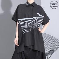 シャツ アシンメトリー 折り襟 半袖 大きいサイズ 韓国ファッション レディース トップス 不規則デザイン 大人カジュアル 大人可愛い ガーリー 620854630513
