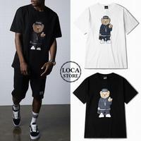 ユニセックス メンズ/レディース 可愛いクマプリント F××K Tシャツ 大きいサイズ ストリート 韓国ファッション オルチャン (DCT-534666468502)