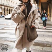 ダッフルコート 韓国ファッション レディース フード付き コート ラシャコート ウールコート アウター 暖かい 保温 シングルブレスト 秋 冬 (DTC-581329236597)