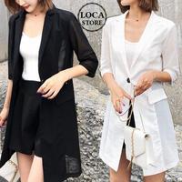 レディース テーラードジャケット サマージャケット 薄手 ジャケット メッシュ 薄手 UVカット フェミニン 韓国ファッション (DCT-571967127399)