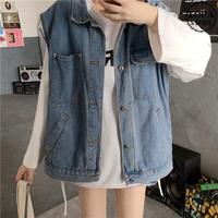 デニムベスト デニムジャケット 韓国ファッション レディース ベスト ノーカラージャケット ジージャン Gジャン DTC-611766440465