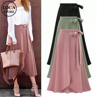 レディース 美シルエット可愛いラップスカート フレア 大きいサイズ ロングスカート 韓国ファッション (DCT-586174980485)
