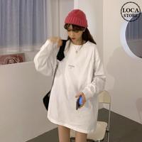長袖 Tシャツ オーバーサイズ ホワイト 韓国ファッション レディース ロングTシャツ ロンt ルーズ トップス ゆったり カットソー 大人可愛い ガーリー DTC-625885313243