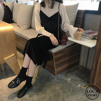 セットアップ キャミワンピース + シフォンブラウス 韓国ファッション レディース キャミワンピ ブラウス レトロ シンプル ガーリー (DTC-600372836260)