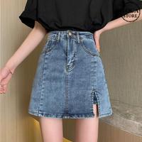 デニムスカート ショートパンツ 韓国ファッション レディース スカート ショート丈 ミニスカート デニム Aライン インナーパンツ ハイウエスト ガーリー 619026668698