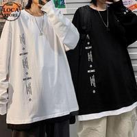 ユニセックス Tシャツ 長袖 韓国ファッション メンズ レディース ラウンドネック シンプル 英字 プリント オーバーサイズ 大きいサイズ ルーズ ストリート DTC-624323933048