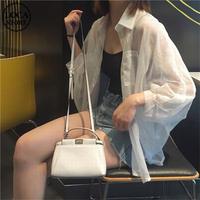 シースルー シャツ シフォン 肌見せ 長袖 透け感 ルーズ 韓国ファッション レディース トップス ブラウス 薄手 大人可愛い ガーリー DTC-595361157647