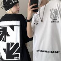 ユニセックス Tシャツ 半袖 プリント ラウンドネック オーバーサイズ ホワイト ブラック 韓国ファッション メンズ レディース カジュアル ストリートファッション DTC-641271258974
