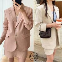 セットアップ ジャケット + スカート リネン 韓国ファッション レディース 麻 シンプル 無地 シングルブレスト ハイウエスト レトロ (DTC-600589387060)