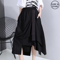 アシンメトリー ティアードスカート Aライン ハイウエスト 韓国ファッション レディース スカート ロング ウエストゴム 大人カジュアル 大人可愛い ガーリー 620066542812
