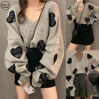 ハート刺繍 ニット セーター 韓国ファッション ゆったり 長袖 プルオーバー 可愛い 大人カジュアル 韓国 レディース (DTC-603675379010)
