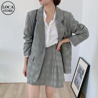 セットアップ チェック柄 テーラードジャケット + スカート 韓国ファッション レディース セット 長袖 シングルブレスト ルーズ 大人可愛い ガーリー DTC-630272967444