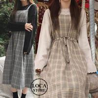 レディース ワンピース チェック柄 ジャンパースカート ノースリーブ ハイウエスト カーキ グレー 韓国 韓国ファッション (DTC-600676297764)