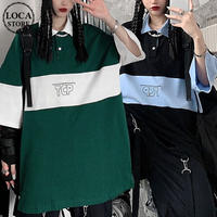 ユニセックス ポロシャツ バイカラー トップス 半袖 オーバーサイズ  韓国ファッション メンズ レディース 男女兼用 半袖ポロシャツ カジュアル ストリート系 DTC-638556229190