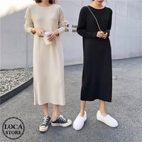 シンプル大人LADYに♪ラウンドネックニットワンピース 韓国ファッション オルチャン (DCT-599903740677)