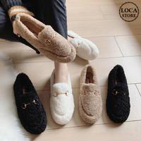 ボアシューズ バックル もこもこ フラットシューズ ローファー ファーシューズ 韓国ファッション レディース 歩きやすい 履きやすい ラウンドトゥ 秋 冬 (DTC-603687983291)