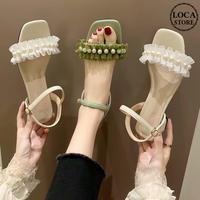 サンダル イミテーションパール チャンキーヒール 5cm スクエアトゥ アンクルストラップ 韓国ファッション レディース 痛くない かわいい 靴 歩きやすい 612819405931