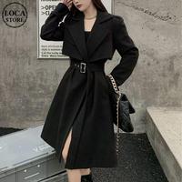 ツーピース ロングコート + ベスト ベルト付き ウール ロング丈 韓国ファッション レディース コート アウター 大人可愛い フォーマル ガーリー DTC-630171040843