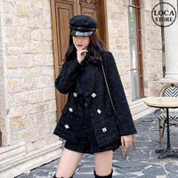 セットアップ ツイード ジャケット + ショートパンツ スクエアボタン キラキラ 韓国ファッション レディース 2点セット ハイウエスト 大人可愛い ガーリー DTC-629229274905)