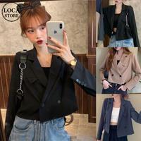 ショート丈 テーラードジャケット ダブルブレスト 韓国ファッション レディース ショートジャケット 長袖 ゆったり 大人可愛い ガーリー DTC-623056809506