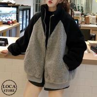 ボアブルゾン バイカラー アウター 韓国ファッション レディース ブルゾン ジャケット もこもこ フロントジッパー カジュアル 秋 冬 (DTC-605491386925)