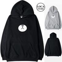 ユニセックス メンズ レディース ペア パーカー 可愛い クマプリント ストリート 大きいサイズ オーバーサイズ 韓国ファッション (DCT-543762055020)