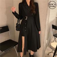 トレンチ風 ワンピース スリット ウエストベルト 韓国ファッション レディース 長袖 ゆったり 大人可愛い ガーリー DTC-625713740000