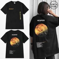 ユニセックス 半袖 Tシャツ メンズ レディース 英字 HEPER 金星 バックプリント オーバーサイズ 大きいサイズ ルーズ ストリート TBN-592130018142