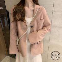 レディース ジャケット ブレザー くすみピンク テーラード ボタン シンプル アウター 体型カバー 大人カジュアル 韓国 韓国ファッション (DTC-588798568580)