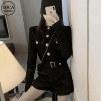 セットアップ ニット カーディガン + ショートパンツ 韓国ファッション レディース 2点セット 長袖 大きいボタン ハイウエスト 大人可愛い ガーリー DTC-607475978710