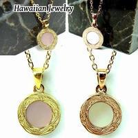 【ハワイアンジュエリー / HawaiianJewelry】 ネックレス メダル シェル イエローゴールド ステンレススチール インスタ ※刻印可能商品 (gps81033)