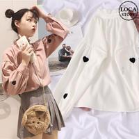 ブラウス ハート 刺繍 フリルネック 韓国ファッション レディース パフスリーブ ランタンスリーブ 長袖 フリル ガーリー DTC-575957015563