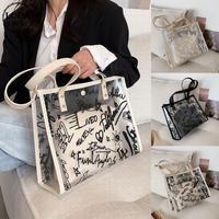 半透明 トートバッグ ゼリーバッグ クリアバッグ 韓国ファッション バッグ 透明バッグ ストラップ シンプル 肩掛け 鞄 レトロ DTC-641110538508