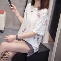 レディース ダメージ加工 クラッシュ加工 カットソー 半袖 Tシャツ 英字 フェミニン 韓国ファッション (DCT-593344696456_19111)