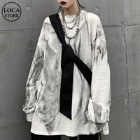 ユニセックス タイダイ染め Tシャツ 長袖 オーバーサイズ 韓国ファッション メンズ レディース ロンT ルーズ カジュアル ストリートファッション DTC-602094054655