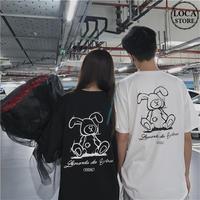 Tシャツ 半袖 うさぎ ラビット 韓国ファッション レディース トップス ラウンドネック かわいい セクシー カジュアル ガーリー ストリート DTC-621125691388