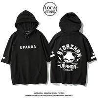 UPANDA ユニセックス メンズ/レディース パンダプリント 半袖プルオーバーパーカー Tシャツ インスタ ストリート (DCT-564774568714)