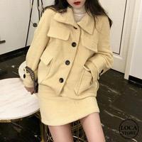 セットアップ ウールジャケット + ウールスカート 韓国ファッション レディース ショートコート ブルゾン ミニスカート (DTC-607091771764)