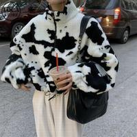 牛柄 ボアトップス ショート丈 もこもこ 韓国ファッション レディース ボア ゆったり イミテーション ラムウール カジュアル 大人可愛い ガーリー DTC-631749019977