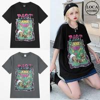 ユニセックス Tシャツ 半袖 メンズ レディース プリント オーバーサイズ 大きいサイズ ルーズ ストリート TBN-624402465027
