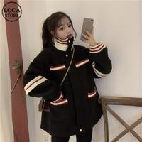 2way ショートコート ウールコート 韓国ファッション レディース ジップアップ ハイネック ジャケット ブルゾン ウール レトロ (DTC-608883083468)