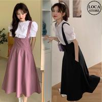 ストラップスカート ジャンパースカート ウエストゴム 韓国ファッション レディース スカート カジュアル ガーリー DTC-616346636626