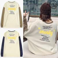 ユニセックス Tシャツ 長袖 メンズ レディース ラウンドネック 袖色違い 英字 プリント オーバーサイズ 大きいサイズ ルーズ ストリート TBN-628676754044
