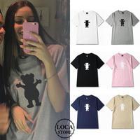 【6カラー】ユニセックス メンズ/レディース クマプリントTシャツ 半袖 ストリート系 カジュアル ペア 韓国ファッション (DCT-546718625465)